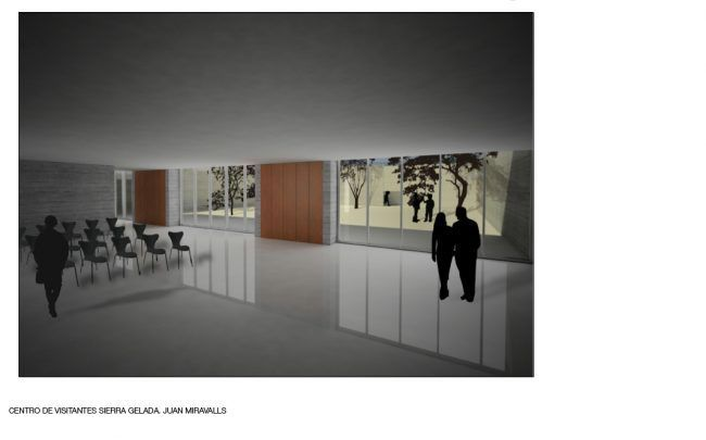 JUAN LUIS MIRAVALLS_Centro de Visitantes en Sierra Gelada_Perspectiva interior/ Visitor Center_Interior perspective