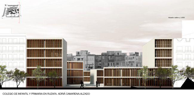ADRIÁ CAMARENA_Colegio de infantil y primaria en Ruzafa_Alzado/School in Ruzafa_Front view