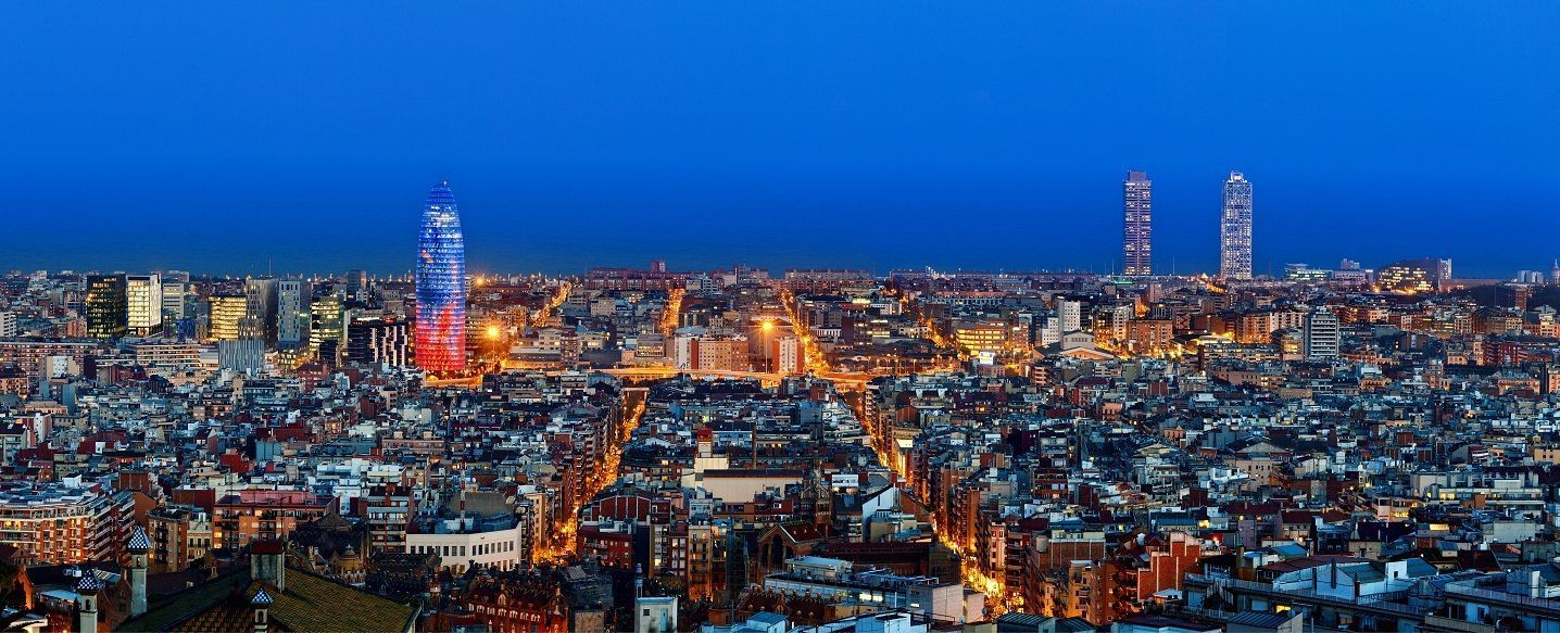 Barcelona skyline with Torre Agbar at twilight, Barcelona, Spain - Image by © Sylvain Sonnet/Corbi