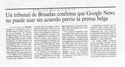 Un tribunal de Bruselas confirma que Google News no puede usar sin acuerdo previo la prensa belga