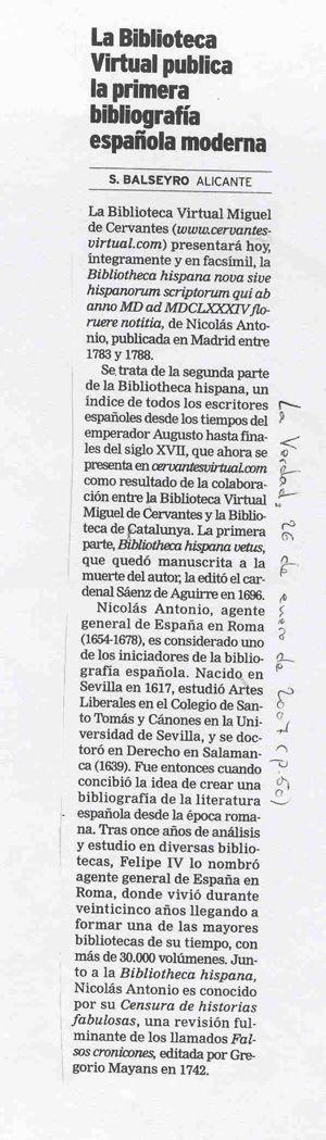La Biblioteca virtual publica la primera bibliografia española moderna