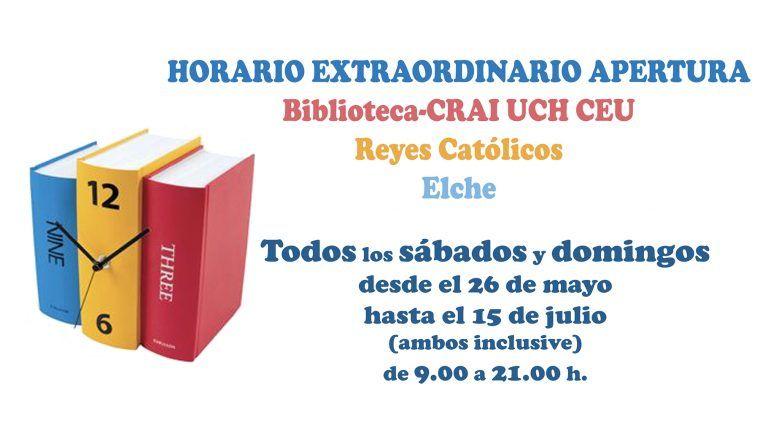La Biblioteca-CRAI de Elche vuelve a abrir sus puertas los fines de semana
