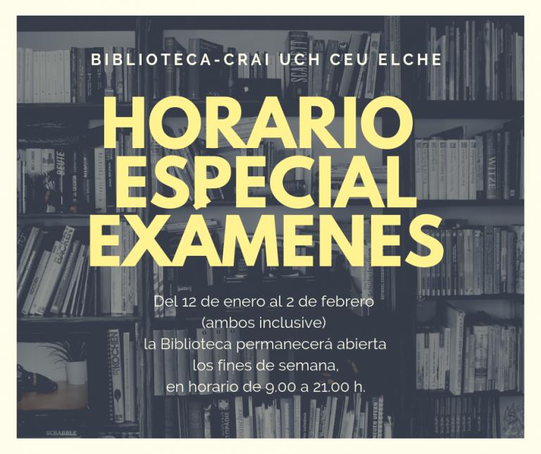 Horario especial exámenes en la Biblioteca CEU-UCH de Elche