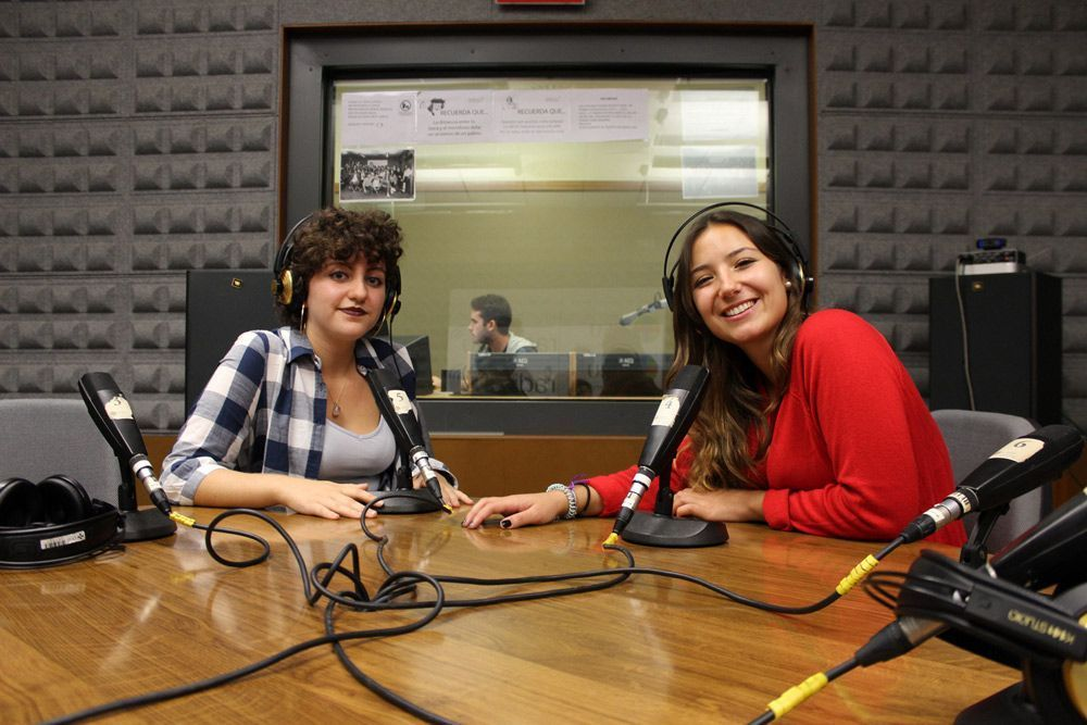 Margarita (left) and María (right) just before going on air