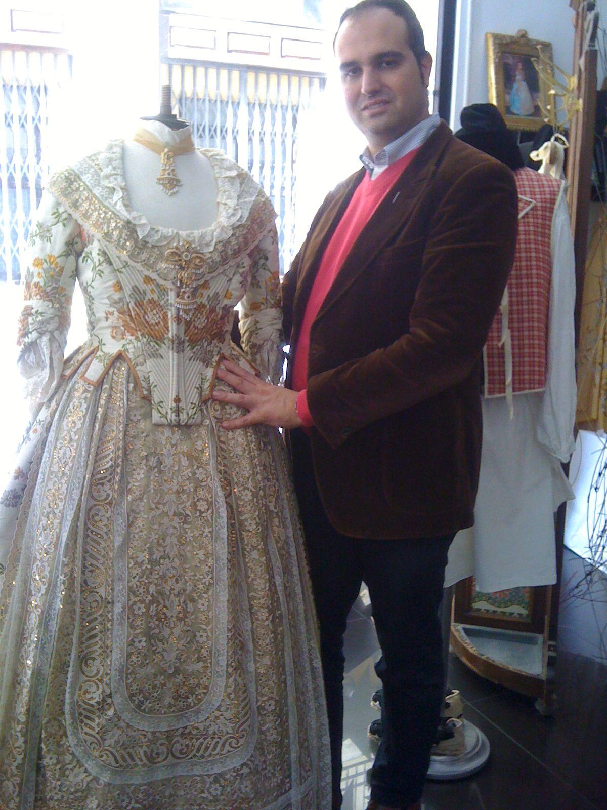 Ernesto Sostoa shows us some of the beautiful Fallas costumes at his studio in Valencia.