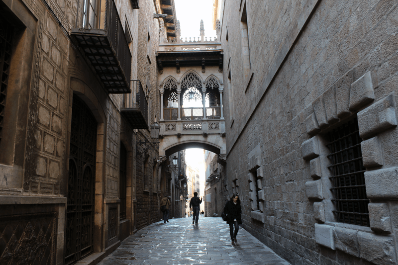 The Gothic Quarter in Barcelona.