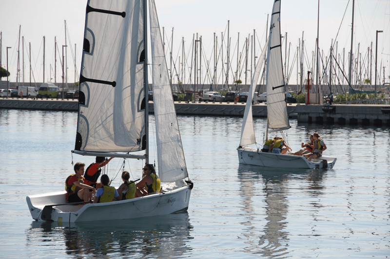 Trying out sailing at the Port of Valencia.