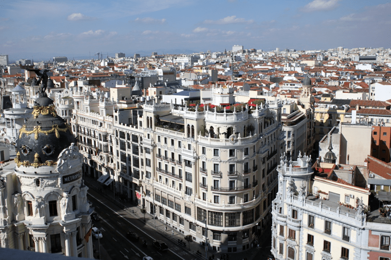 Part of the Gran Vía and the Metropolis Building as seen from the rooftop terrace of Círculo de Bellas Artes.