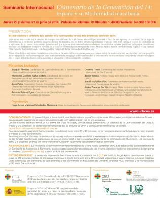 Ponentes Seminario Internacional G.14, Valencia 26 y 27 de junio