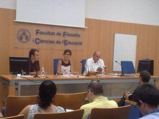Leopoldo García, Katia Esteve y Jordi Pérez presentando los libros
