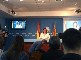 Dña. Mª José Catalá, portavoz del gobierno valenciano, en la rueda de prensa