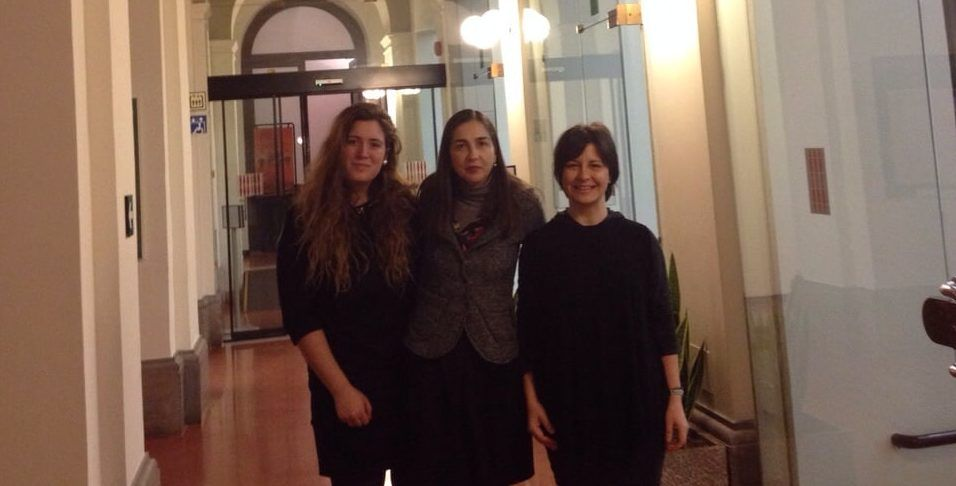 Rosa Estevan, Mrs. Rosalba Iannucci (her tutor in Italy) and Prof. Susana Sanz