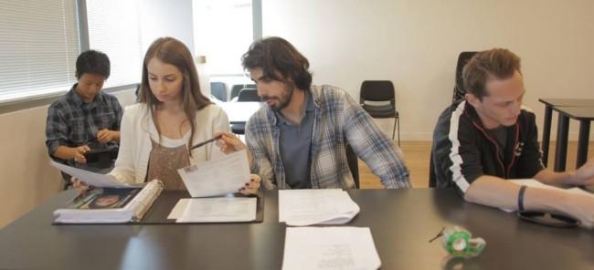 Durante un casting hablando con la directora de casting