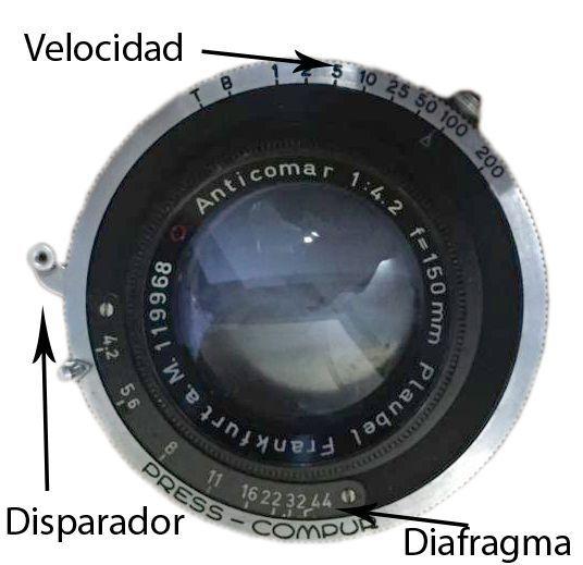 detalle objetivo cámara de placas