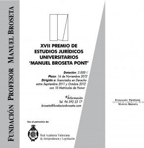 Cartel premio estudio jurídico Manuel Broseta