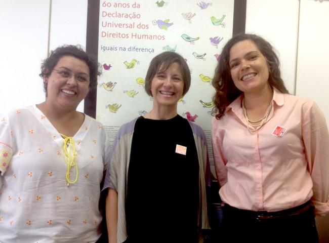 Fernanda Calderaro, coordinadora general de Derechos Humanos de Brasil; la catedrática de la CEU-UCH Susana Sanz; y Luciana García, experta local del Programa Diálogos UE-Brasil en materia de Derechos Humanos, reunidas la pasada semana en Brasilia.