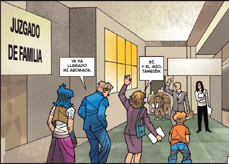 Viñeta de cómic con ciudadanos (padres e hijos) en los juzgados de familia.