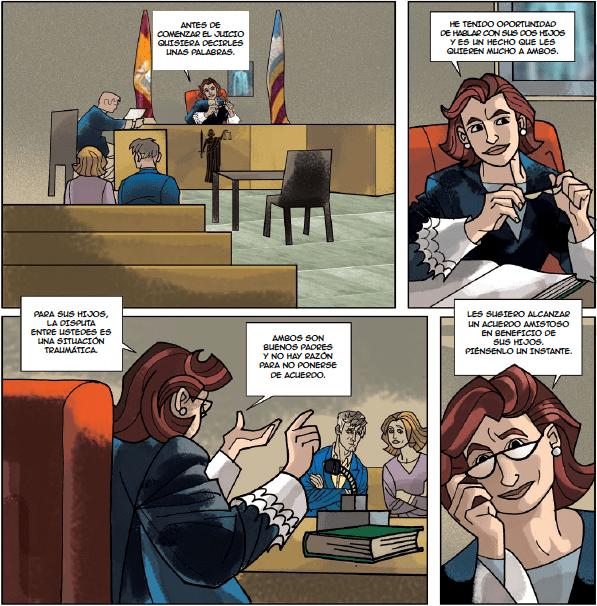 Viñeta de cómic representando el trabajo judicial en estrados.