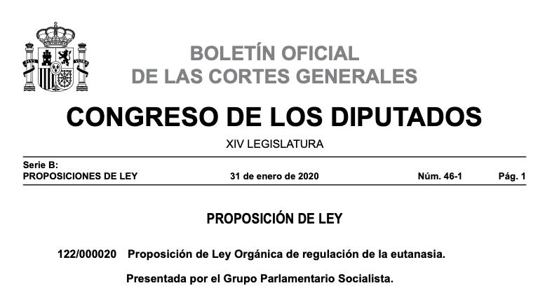 Proposición de Ley Orgánica de regulación de la eutanasia