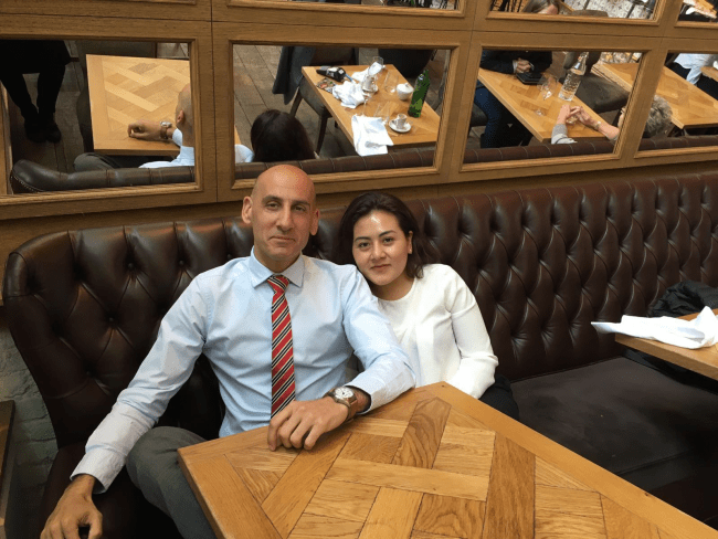 Beatriz Huitrón with Antonio Guillén - English lawyer and Spanish Honorary Consul in Manchester.