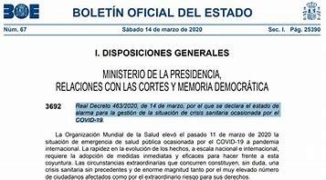 B.O.E Real Decreto Estado de Alarma