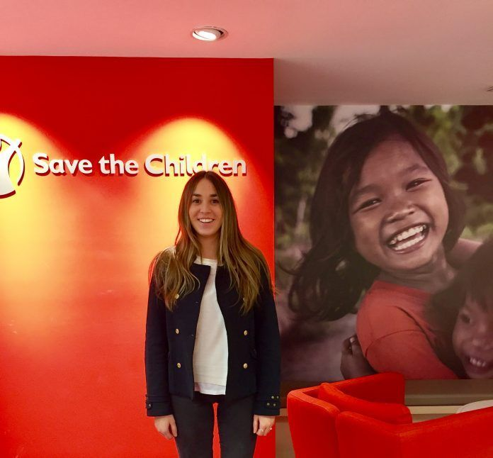 Rocío Alamar during her internship at Save the Children, Madrid