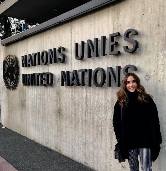 Rocío Alamar, a CEU-UCH graduate at the United Nations Human Rights Council, Palais des Nations
