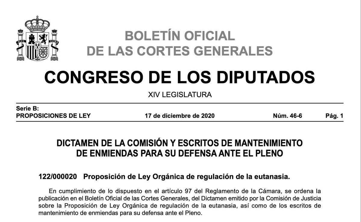 Boletín Oficial del Estado. Proposición de ley reguladora de la eutanasia.