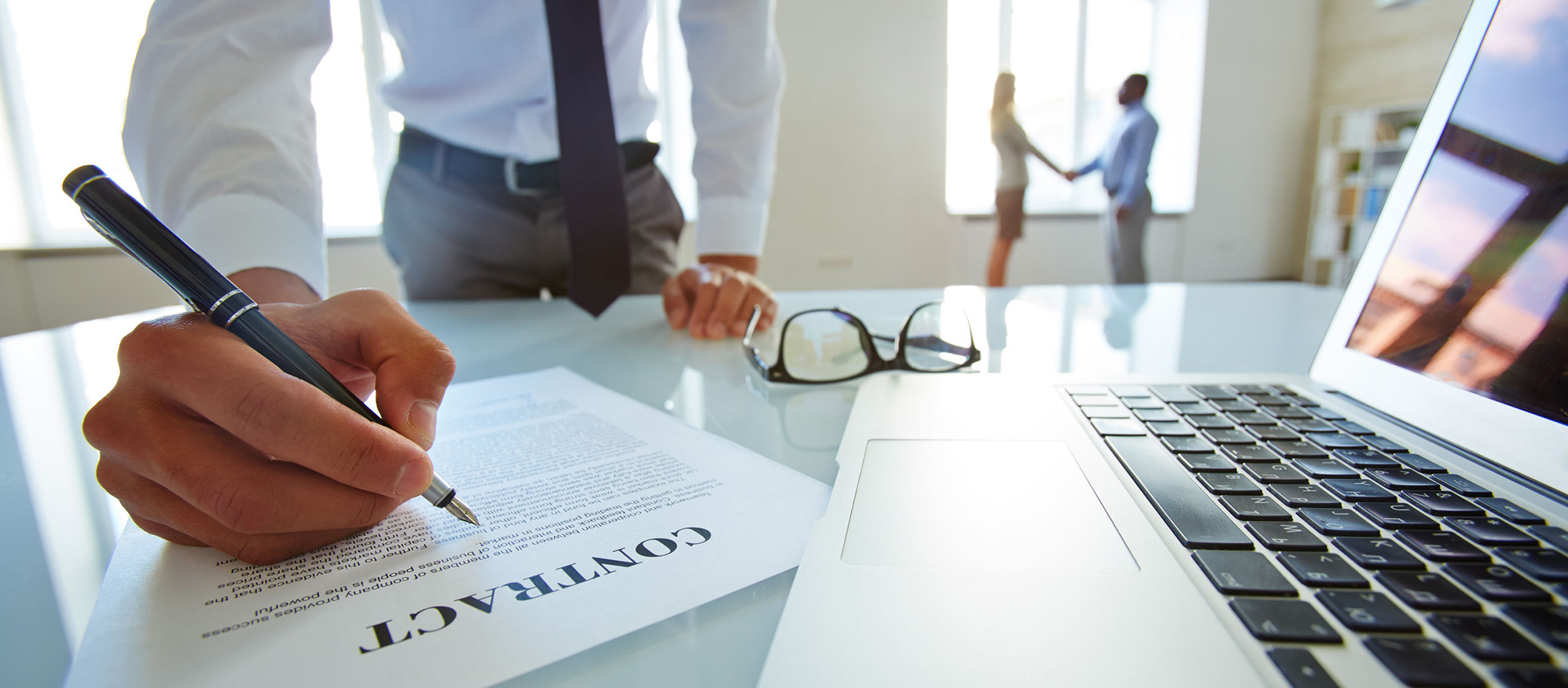 Legal English lawyer developing contract of partnership