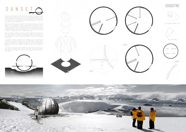 The proposal for a refuge on Antarctica, named 'Sunset', by Teresa Sanchis, and Álvaro and Francisco Hidalgo.