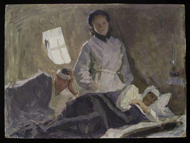 Título (traducido del ruso): Enfermera asiste a heridos en un hospital militar soviético. Sophia Uranova . 1962