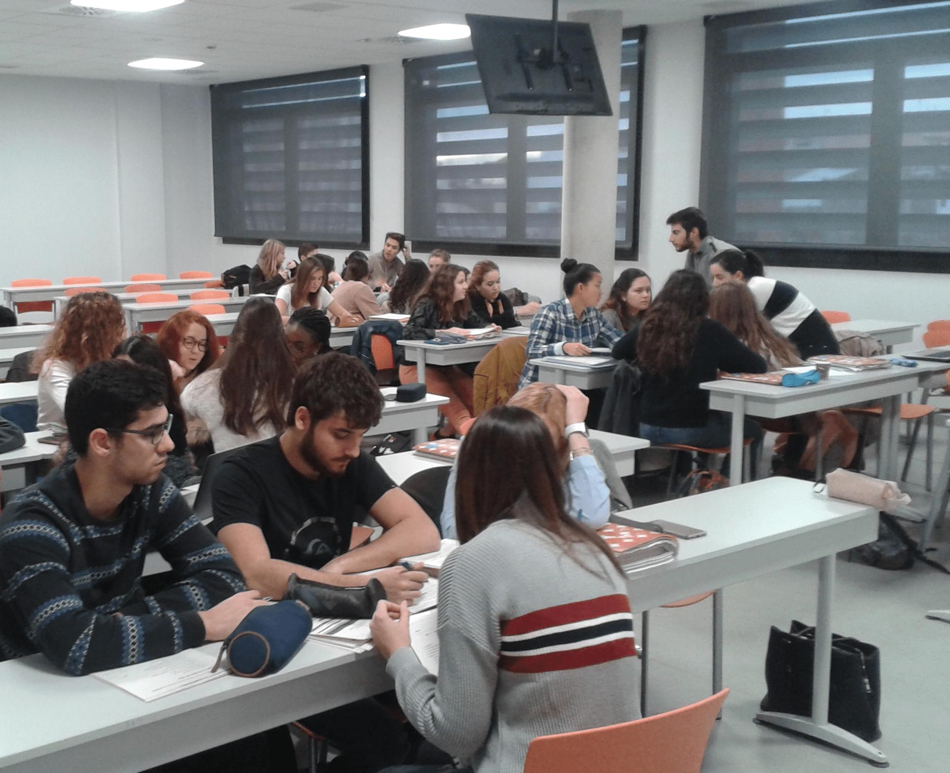 """Alumnos trabajando en grupo dentro del Seminario sobre """"Enfermedades""""."""