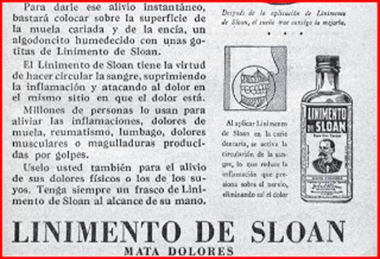 Imagen de publicidad en el periódico del linimento de Sloan