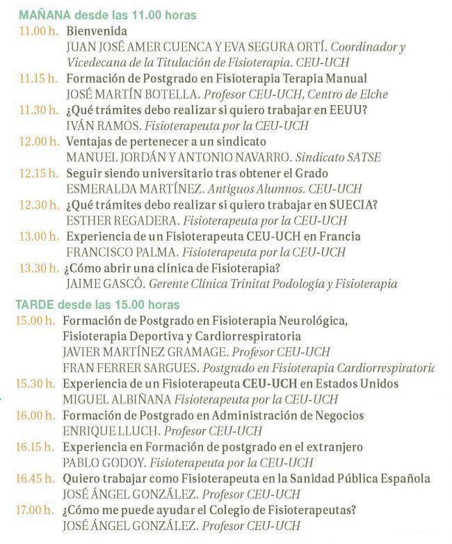 PROGRAMA JORNADAS FISIOTERAPIA POSTGRADO Y SALIDAS PROFESIONALES