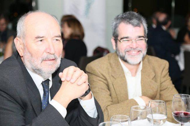 Los doctores Rosado y Lendoiro, durante la velada de la Gala de la Fisioterapia