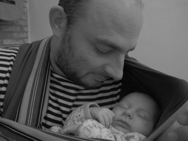 Yoann Cazorla con su bebé, el precioso Maceo