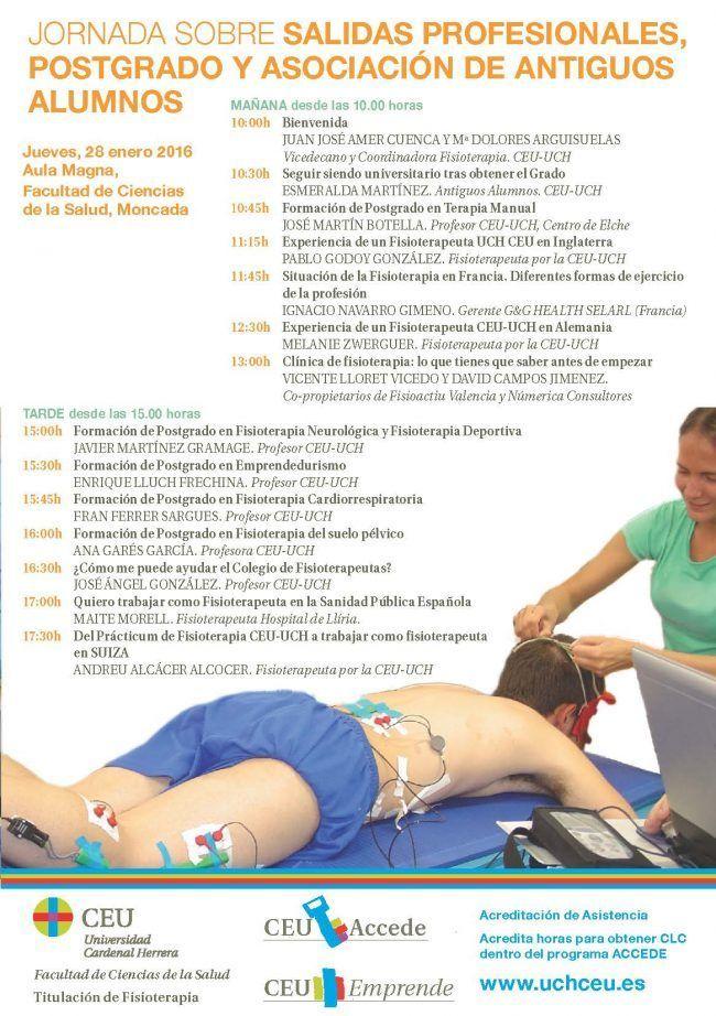 PROGRAMA COMPLETO DE LA   JORNADAS FISIOTERAPIA POSTGRADO Y SALIDAS PROFESIONALES