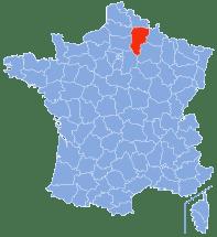 Mapa de Francia. Bosque de Saint-Gobain.