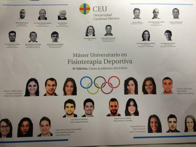 Orla de la 8ª Edición del Master en Fisioterapia del Deporte de la Universidad CEU Cardenal Herrera