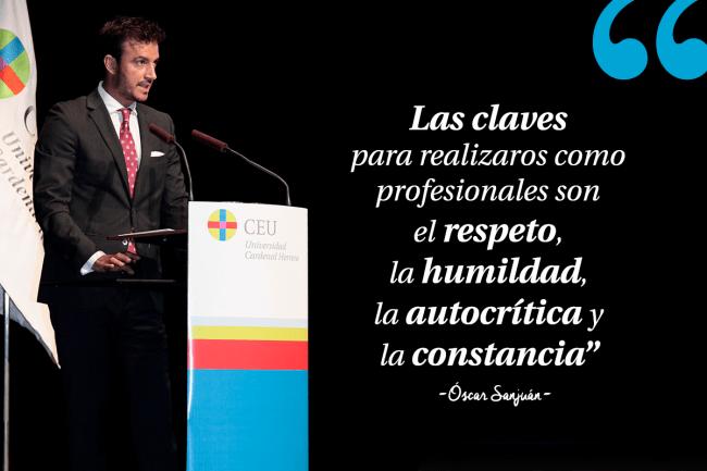 Óscar Sanjuán padrino fisioterapia CEU