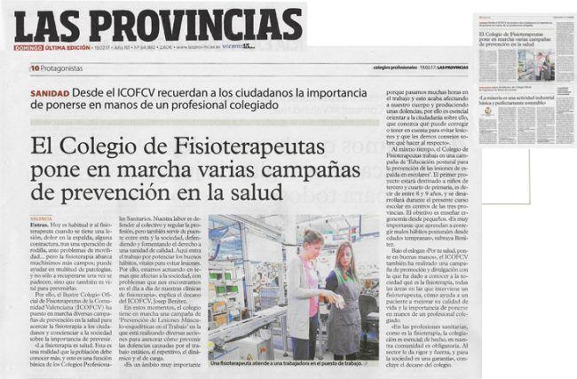 Recorte del diario Las Provincias, Especial Salud del 19 de enero de 2017