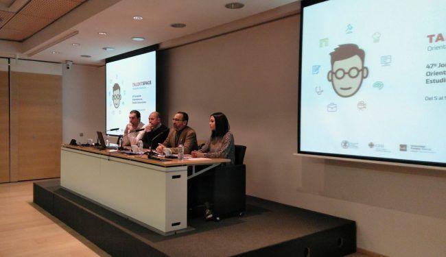 Mireia Jiménez junto con José Ángel González, Carlos Villarón y Jaime Gascó presentaron el encuentro de Fisioterapia del TalentSpace