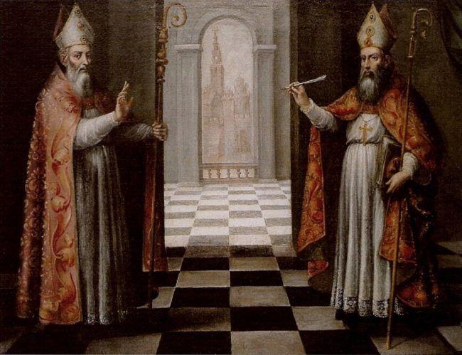 Cuadro de Ignacio de Ríes que representa a San Isidoro y San Leandro, ambos hermanos y obispos de Sevilla