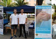 La Feria de la Salud de Moncada 2018 contó con la partcipación de los alumnos de Fisioterapia Patricio Peñalver y David Gascó