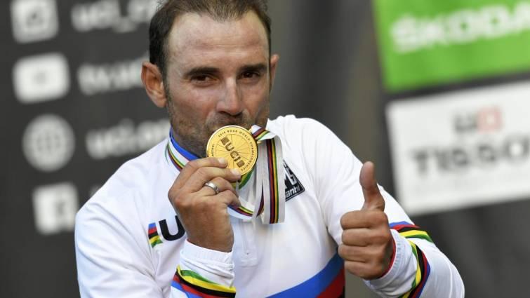 Alejandro Valverde campeón del mundo de ciclismo 2018. FUENTE La Razón