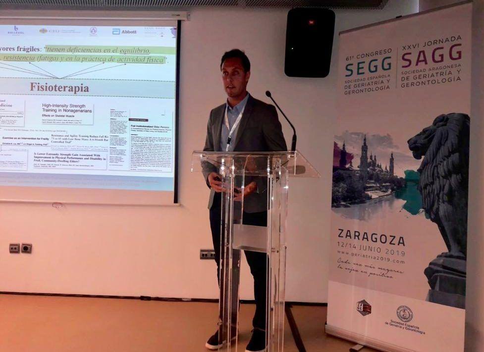 Premio en Fisioterapia Geriátrica al profesor Vicent Benavent en el Congreso Nacional de Geriatría celebrado en Zaragoza en junio de 2019.