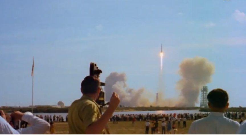Destino la Luna. Despegue del cohete Saturno V, con los tres famosos astronautas, camino de hacer historia el 16 de julio de 1969