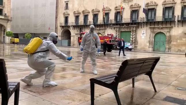 Operación Balmis. La UME actuando en Alicante, ciudad natal del doctor Balmis. FUENTE diarioinformacion.com