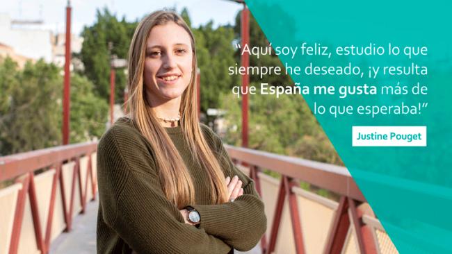 Justine Pouget, estudiante francesa de Fisioterapia en la CEU UCH