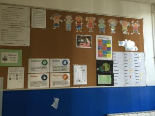 Trabajos en la corchera del aula